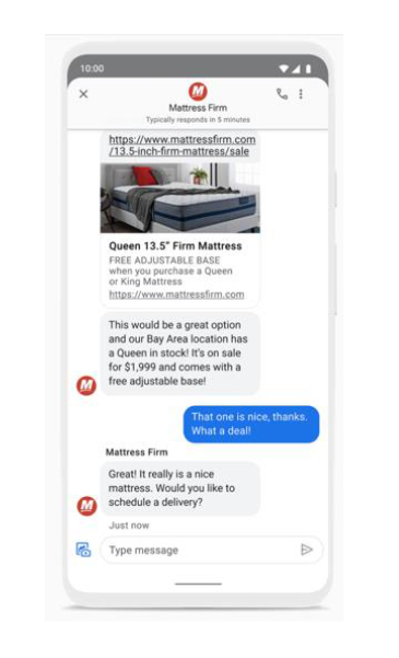now sending business messages google-maps and search mobile