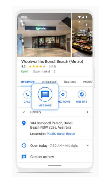now sending business messages google-maps and search